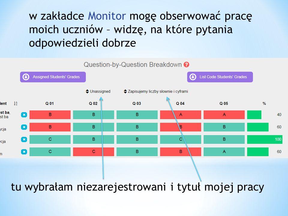 w zakładce Monitor mogę obserwować pracę moich uczniów – widzę, na które pytania odpowiedzieli dobrze tu wybrałam niezarejestrowani i tytuł mojej pracy