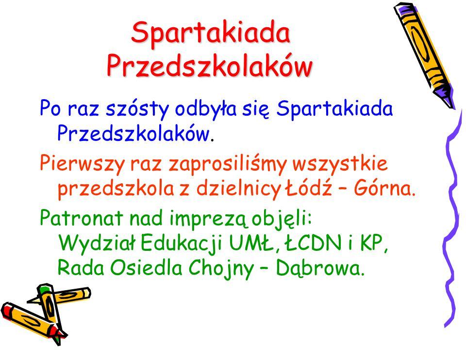 Spartakiada Przedszkolaków Po raz szósty odbyła się Spartakiada Przedszkolaków. Pierwszy raz zaprosiliśmy wszystkie przedszkola z dzielnicy Łódź – Gór