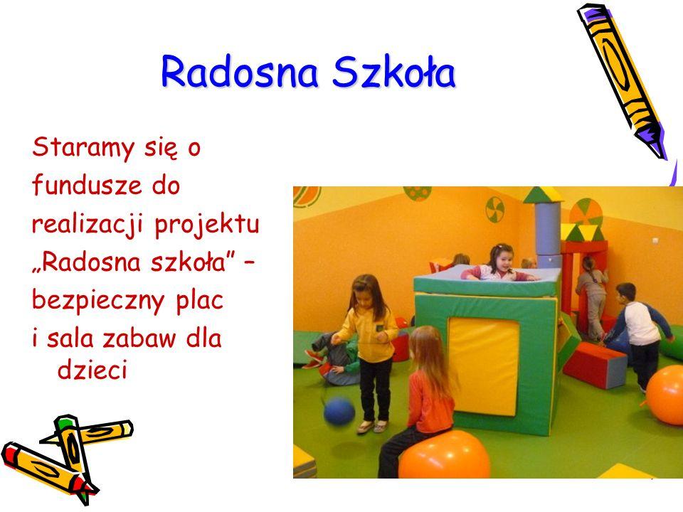 """Radosna Szkoła Staramy się o fundusze do realizacji projektu """"Radosna szkoła"""" – bezpieczny plac i sala zabaw dla dzieci"""