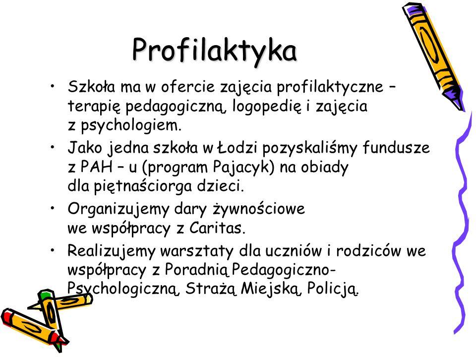 Profilaktyka Szkoła ma w ofercie zajęcia profilaktyczne – terapię pedagogiczną, logopedię i zajęcia z psychologiem. Jako jedna szkoła w Łodzi pozyskal