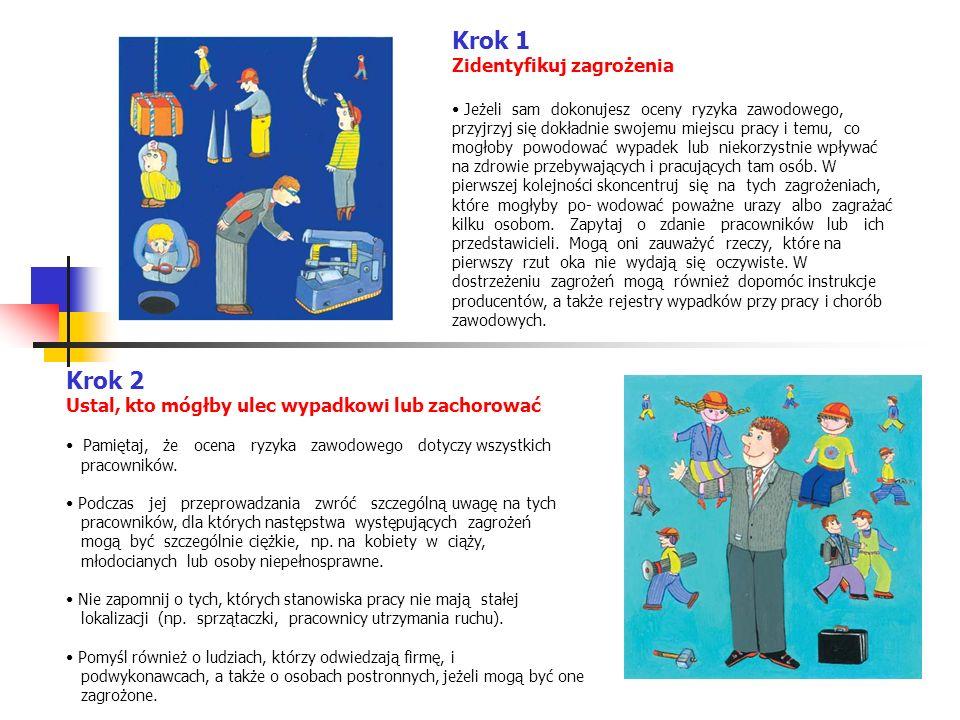 Krok 2 Ustal, kto mógłby ulec wypadkowi lub zachorować Pamiętaj, że ocena ryzyka zawodowego dotyczy wszystkich pracowników.
