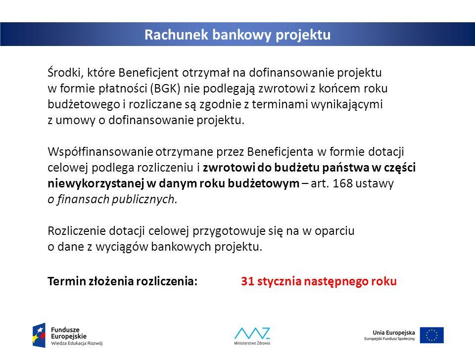 Rachunek bankowy projektu Środki, które Beneficjent otrzymał na dofinansowanie projektu w formie płatności (BGK) nie podlegają zwrotowi z końcem roku