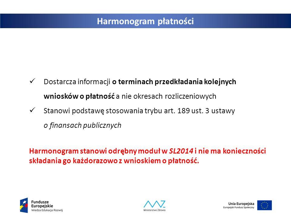 Harmonogram płatności Dostarcza informacji o terminach przedkładania kolejnych wniosków o płatność a nie okresach rozliczeniowych Stanowi podstawę sto