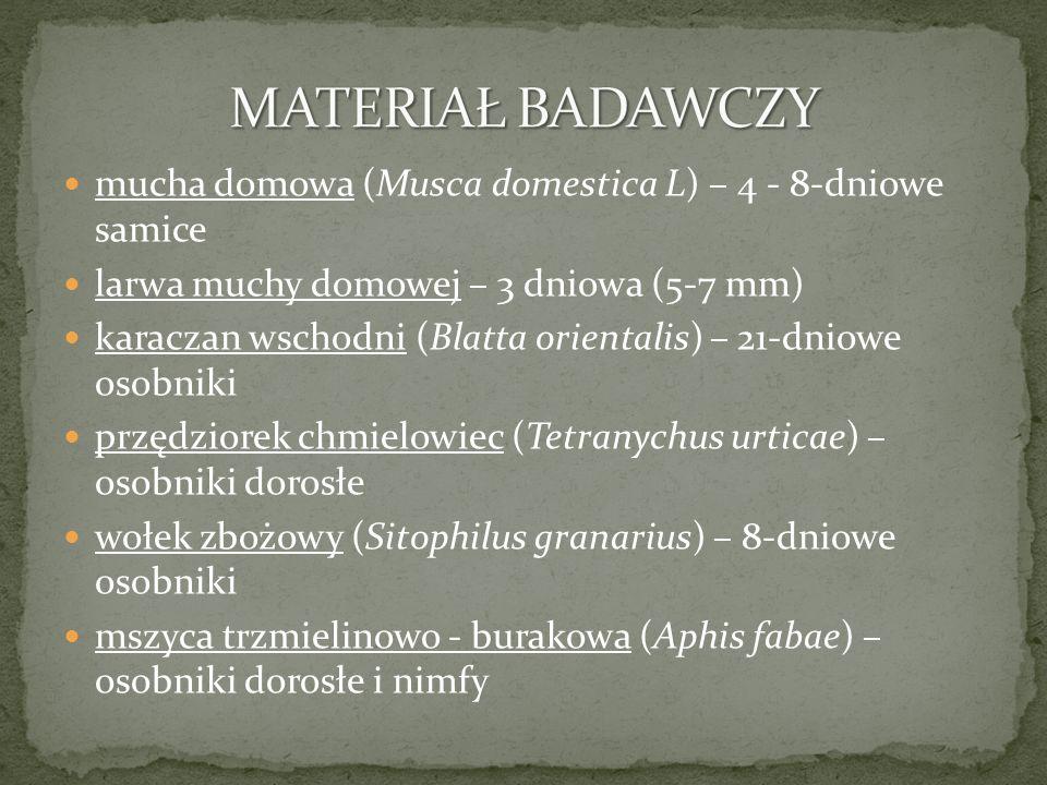 mucha domowa (Musca domestica L) – 4 - 8-dniowe samice larwa muchy domowej – 3 dniowa (5-7 mm) karaczan wschodni (Blatta orientalis) – 21-dniowe osobniki przędziorek chmielowiec (Tetranychus urticae) – osobniki dorosłe wołek zbożowy (Sitophilus granarius) – 8-dniowe osobniki mszyca trzmielinowo - burakowa (Aphis fabae) – osobniki dorosłe i nimfy