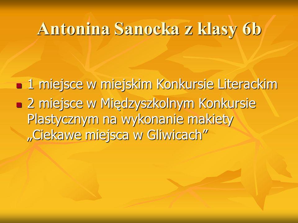 Antonina Sanocka z klasy 6b 1 miejsce w miejskim Konkursie Literackim 1 miejsce w miejskim Konkursie Literackim 2 miejsce w Międzyszkolnym Konkursie P