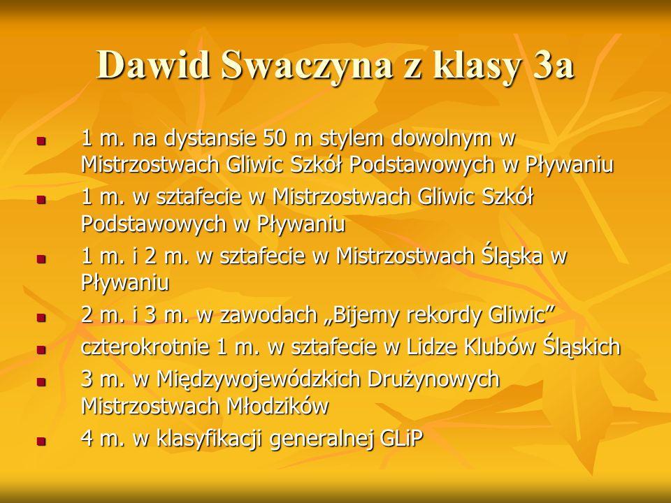 Dawid Swaczyna z klasy 3a 1 m. na dystansie 50 m stylem dowolnym w Mistrzostwach Gliwic Szkół Podstawowych w Pływaniu 1 m. na dystansie 50 m stylem do