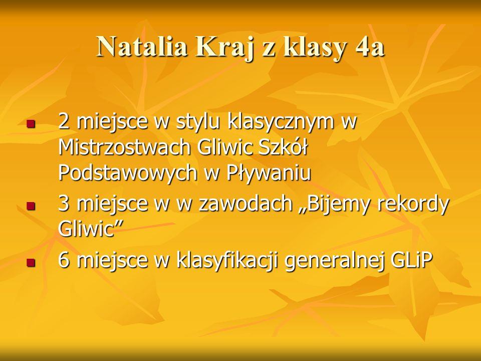 Natalia Kraj z klasy 4a 2 miejsce w stylu klasycznym w Mistrzostwach Gliwic Szkół Podstawowych w Pływaniu 2 miejsce w stylu klasycznym w Mistrzostwach