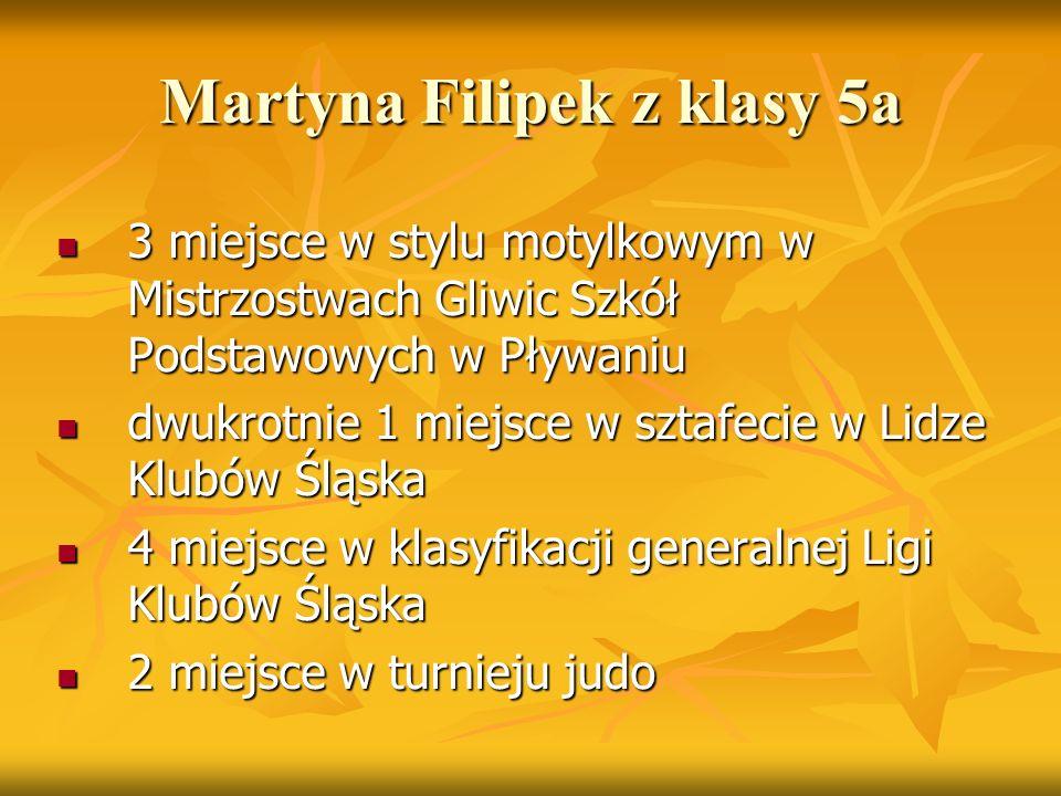 Martyna Filipek z klasy 5a 3 miejsce w stylu motylkowym w Mistrzostwach Gliwic Szkół Podstawowych w Pływaniu 3 miejsce w stylu motylkowym w Mistrzostw