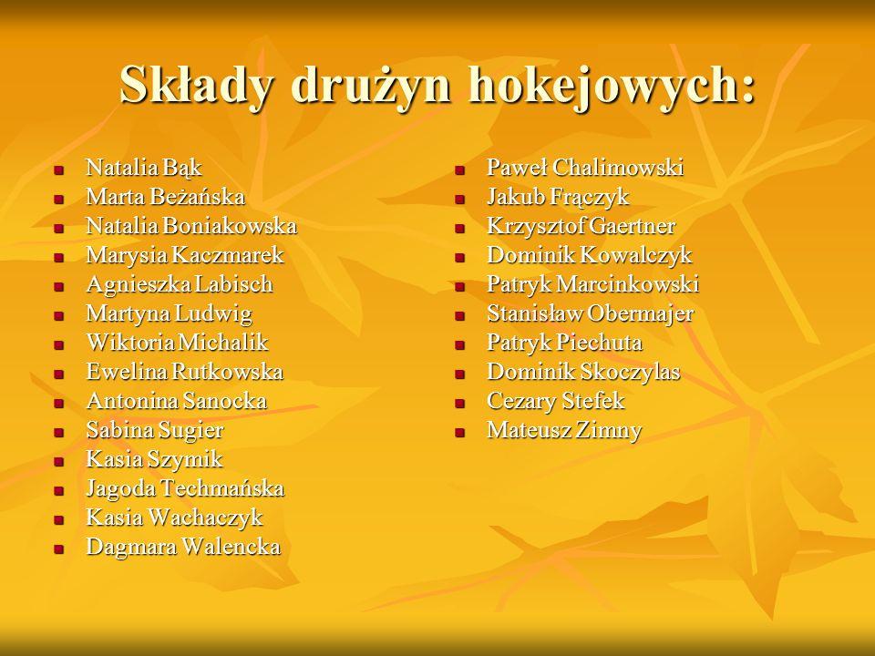 Składy drużyn hokejowych: Natalia Bąk Natalia Bąk Marta Beżańska Marta Beżańska Natalia Boniakowska Natalia Boniakowska Marysia Kaczmarek Marysia Kacz