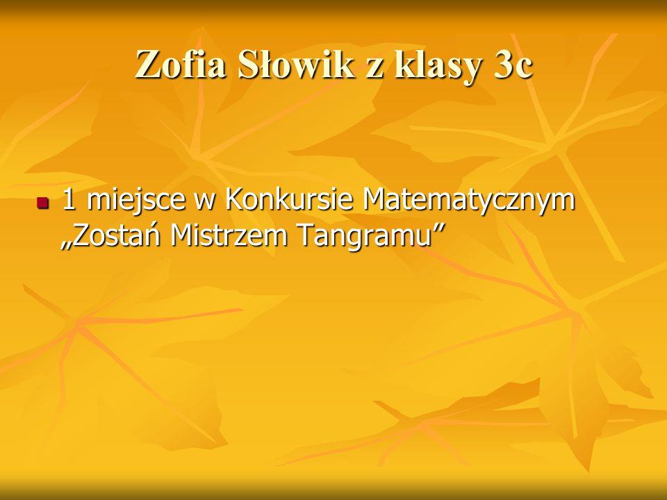 """Jakub Liszka z klasy 4a 2 m.i 3 m. w w zawodach """"Bijemy rekordy Gliwic 2 m."""