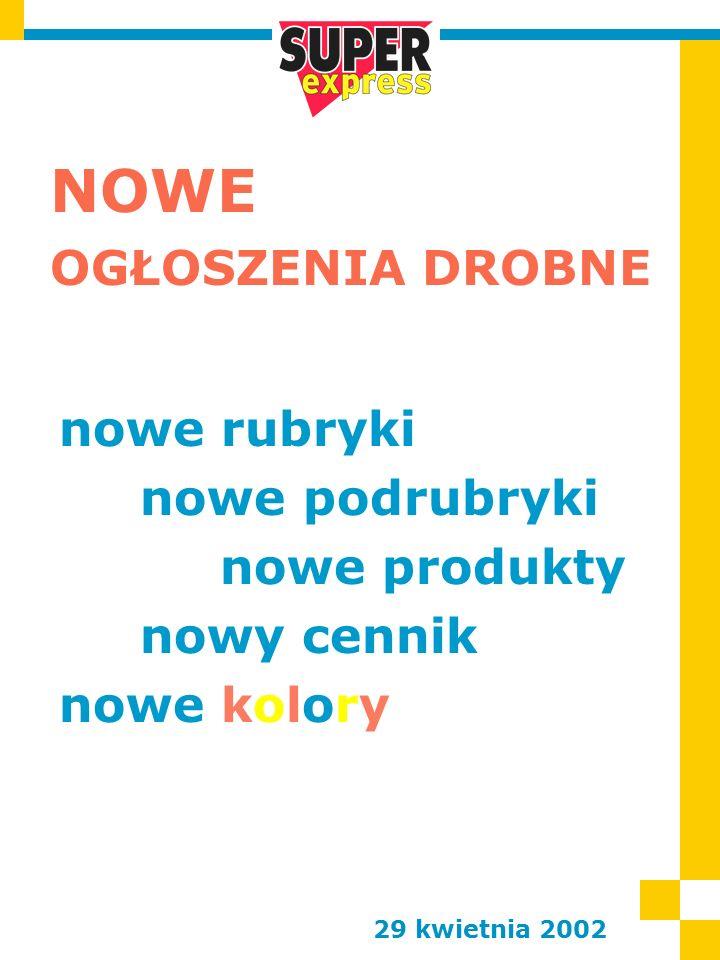 NOWE OGŁOSZENIA DROBNE 29 kwietnia 2002 nowe rubryki nowe podrubryki nowe produkty nowy cennik nowe kolory