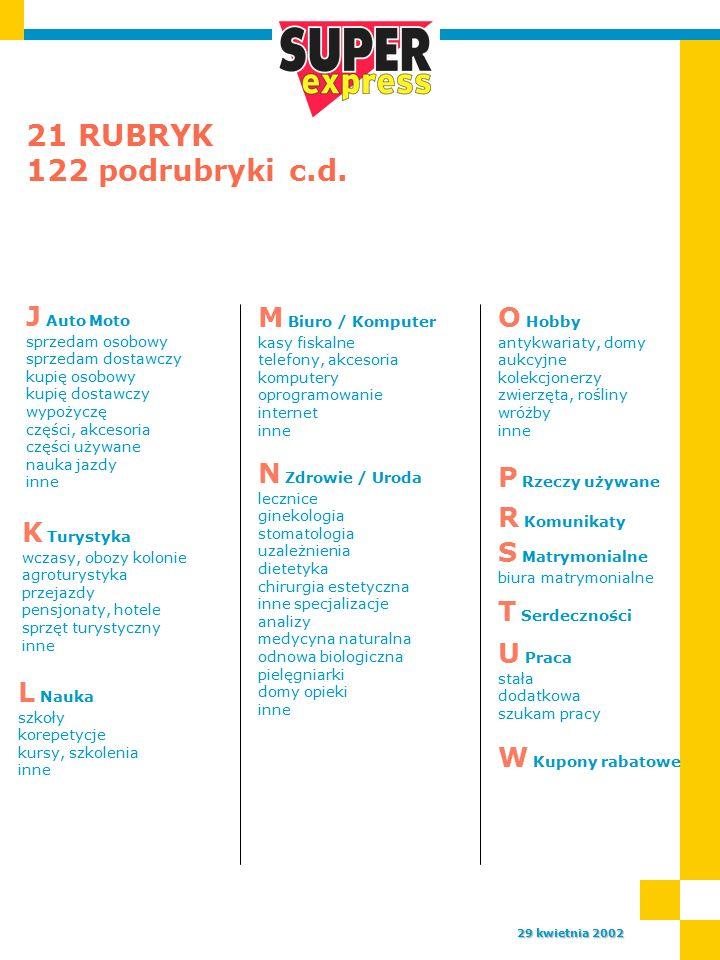 21 RUBRYK 122 podrubryki c.d.