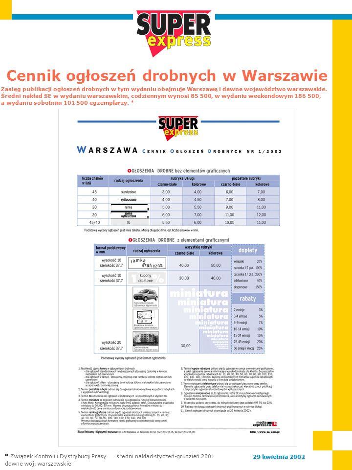 Cennik ogłoszeń drobnych w Warszawie Zasięg publikacji ogłoszeń drobnych w tym wydaniu obejmuje Warszawę i dawne województwo warszawskie.