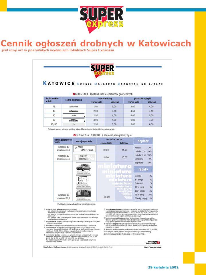 Cennik ogłoszeń drobnych w Katowicach jest inny niż w pozostałych wydaniach lokalnych Super Expressu 29 kwietnia 2002
