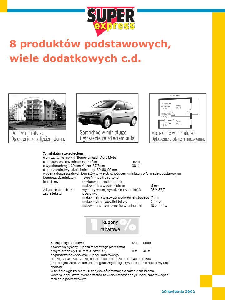 8 produktów podstawowych, wiele dodatkowych c.d. 29 kwietnia 2002 7.