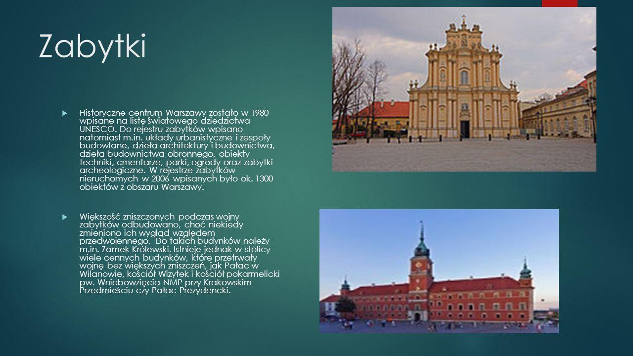 Zabytki  Historyczne centrum Warszawy zostało w 1980 wpisane na listę światowego dziedzictwa UNESCO.