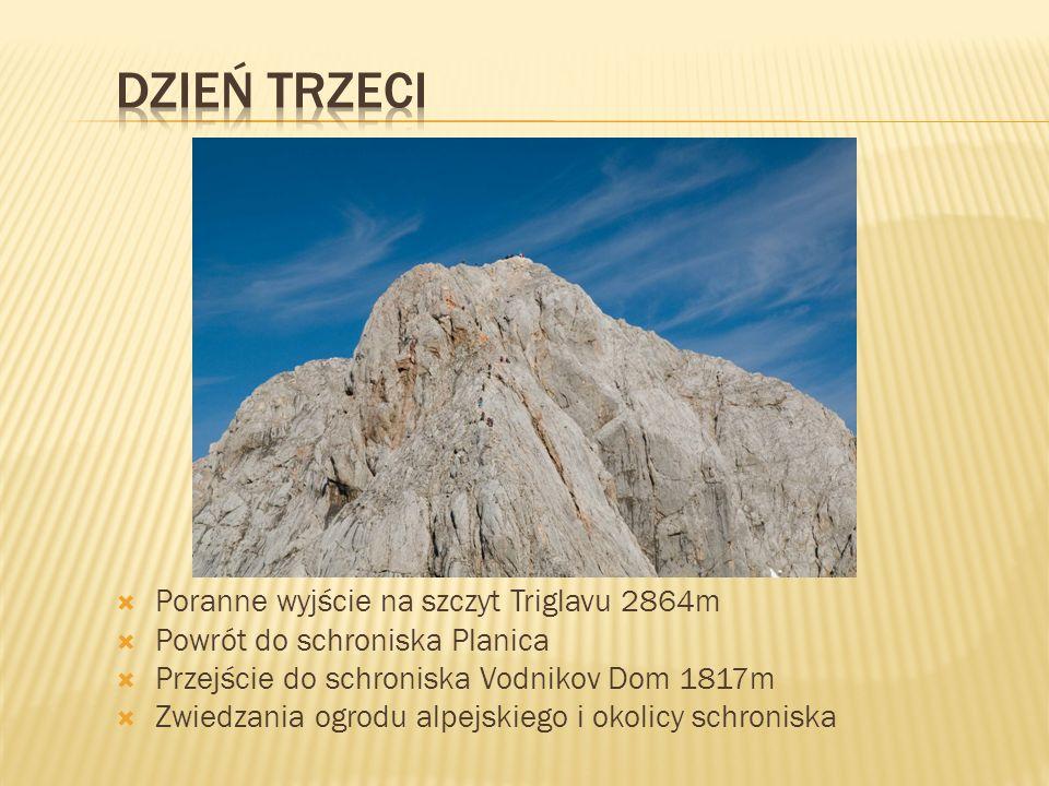  Poranne wyjście na szczyt Triglavu 2864m  Powrót do schroniska Planica  Przejście do schroniska Vodnikov Dom 1817m  Zwiedzania ogrodu alpejskiego i okolicy schroniska