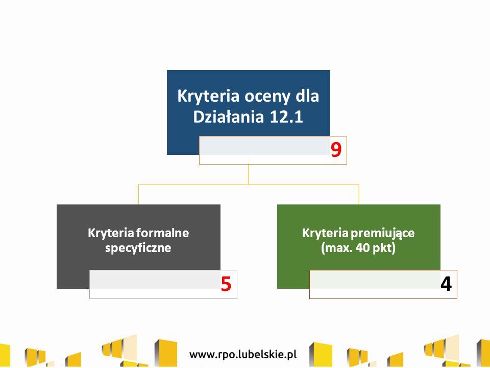 Kryteria oceny dla Działania 12.1 9 Kryteria formalne specyficzne 5 Kryteria premiujące (max. 40 pkt) 4