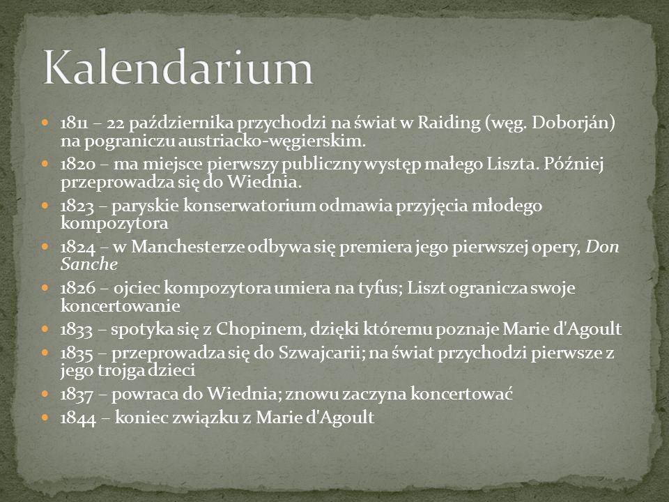 1811 – 22 października przychodzi na świat w Raiding (węg. Doborján) na pograniczu austriacko-węgierskim. 1820 – ma miejsce pierwszy publiczny występ