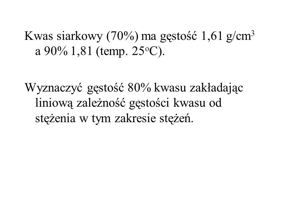 Kwas siarkowy (70%) ma gęstość 1,61 g/cm 3 a 90% 1,81 (temp.