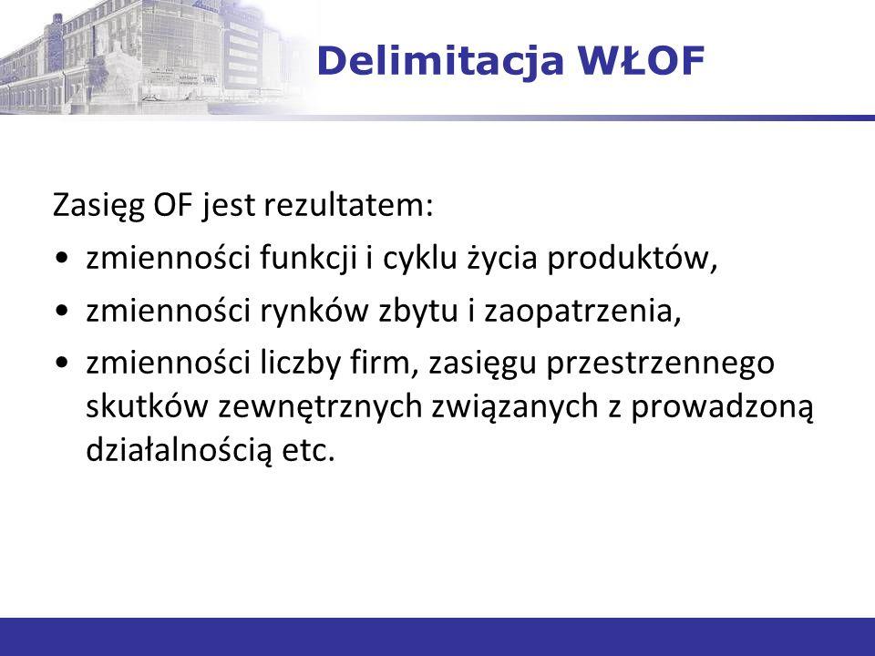 Delimitacja WŁOF Zasięg OF jest rezultatem: zmienności funkcji i cyklu życia produktów, zmienności rynków zbytu i zaopatrzenia, zmienności liczby firm, zasięgu przestrzennego skutków zewnętrznych związanych z prowadzoną działalnością etc.