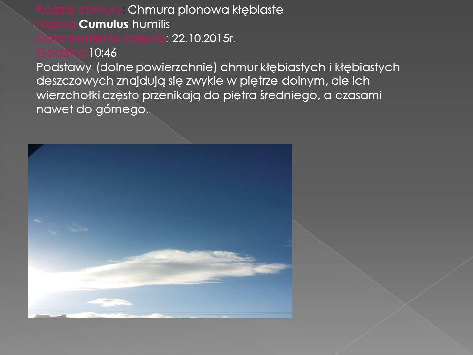 Rodzaj chmury: Chmura pionowa kłębiaste Nazwa: Cumulus humilis Data zrobienia zdjęcia: 22.10.2015r. Godzina:10:46 Podstawy (dolne powierzchnie) chmur