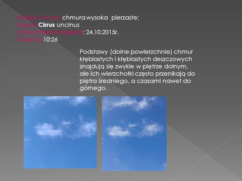 Rodzaj chmury:chmura wysoka pierzaste; Nazwa: Cirrus uncinus Data zrobienia zdjęcia: 24.10.2015r. Godzina:10:26 Podstawy (dolne powierzchnie) chmur kł