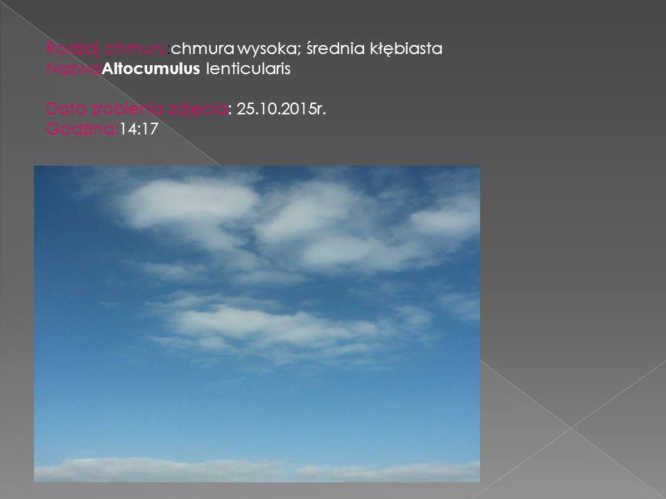 Rodzaj chmury:chmura wysoka; średnia kłębiasta Nazwa Altocumulus lenticularis Data zrobienia zdjęcia: 25.10.2015r. Godzina:14:17