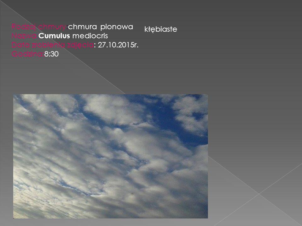 Rodzaj chmury:chmura pionowa Nazwa: Cumulus mediocris Data zrobienia zdjęcia: 27.10.2015r. Godzina:8:30 kłębiaste