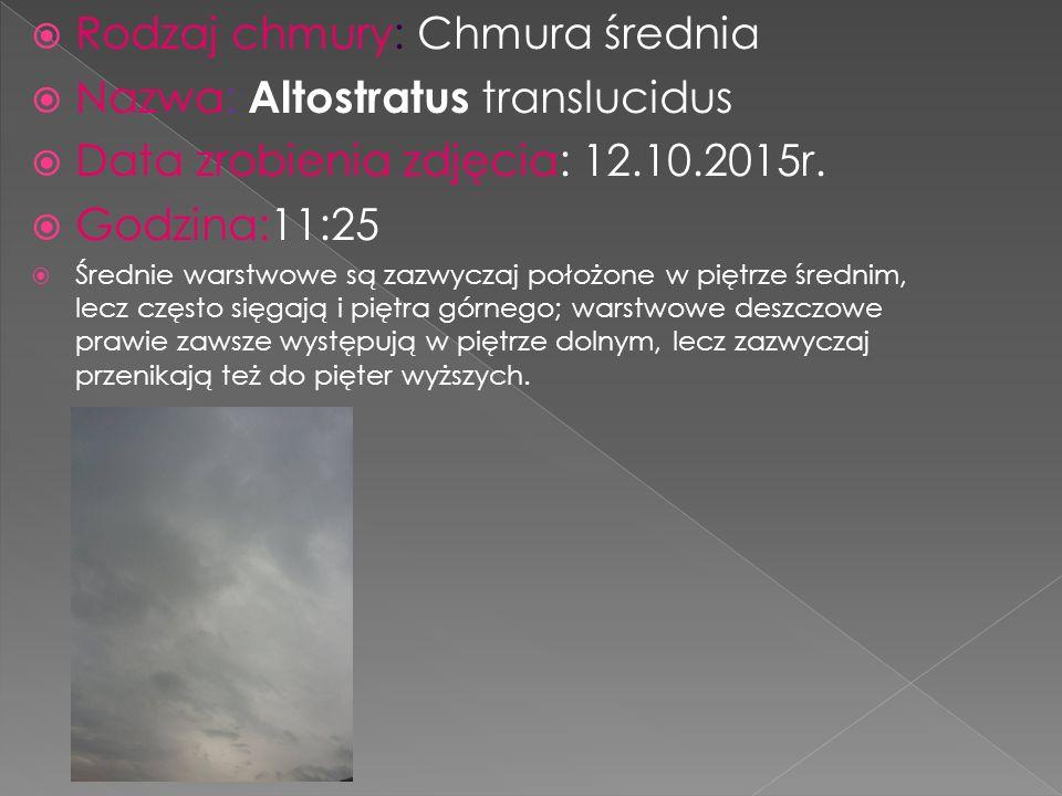  Rodzaj chmury: chmura niska, kłębiasto warstwowa  Nazwa: Stratocumulus stratiformis  Data zrobienia zdjęcia:13.10.2015  Godzina:8:30  kłębiasto - pierzaste i warstwowo - pierzaste występują w górnym piętrze