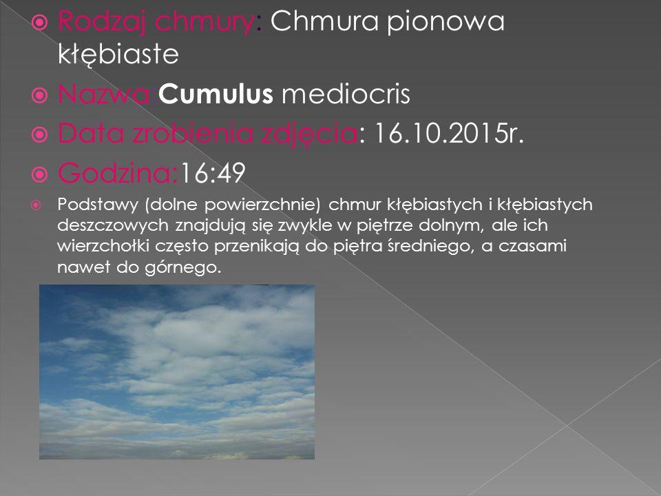  Rodzaj chmury: Chmura pionowa kłębiaste  Nazwa: Cumulus mediocris  Data zrobienia zdjęcia: 16.10.2015r.  Godzina:16:49  Podstawy (dolne powierzc