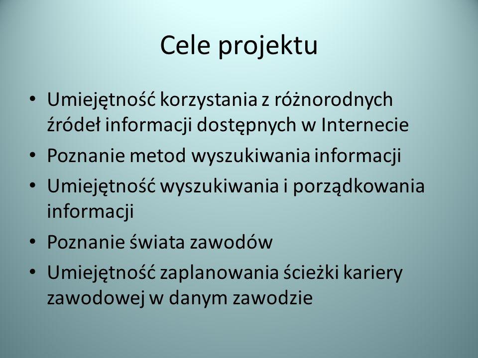 Cele projektu Umiejętność korzystania z różnorodnych źródeł informacji dostępnych w Internecie Poznanie metod wyszukiwania informacji Umiejętność wysz