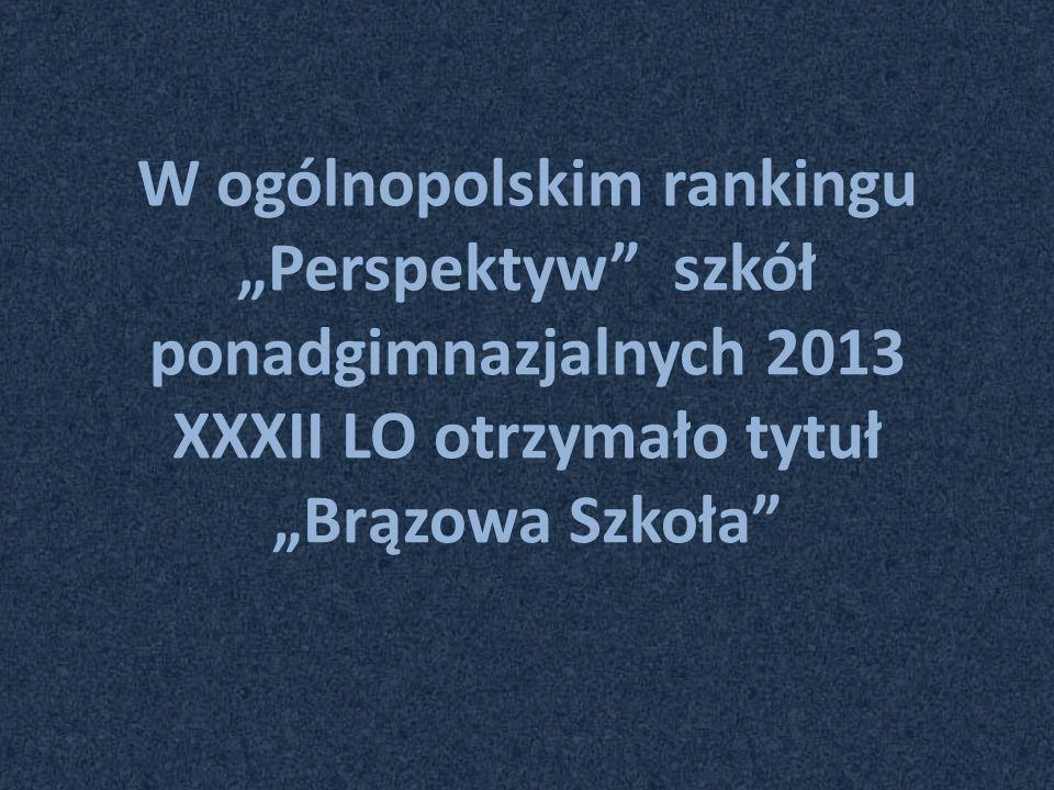 """W ogólnopolskim rankingu """"Perspektyw szkół ponadgimnazjalnych 2013 XXXII LO otrzymało tytuł """"Brązowa Szkoła"""