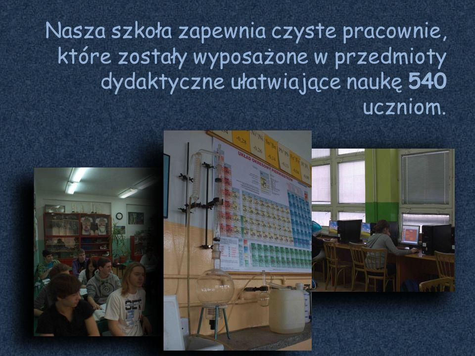 Nasza szkoła zapewnia czyste pracownie, które zostały wyposażone w przedmioty dydaktyczne ułatwiające naukę 540 uczniom.