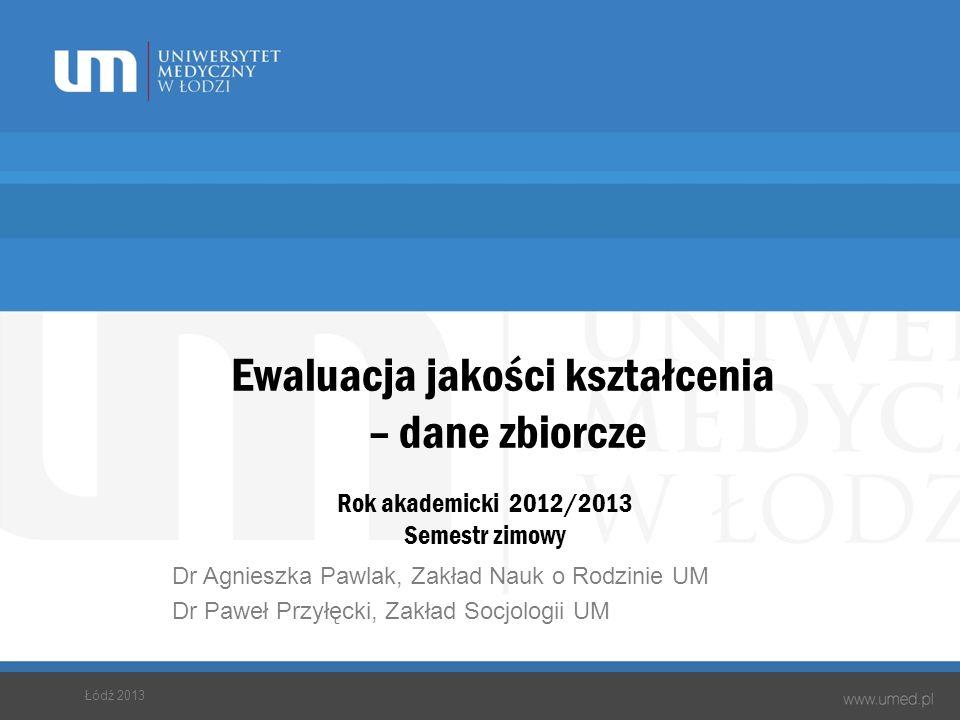Ewaluacja jakości kształcenia – dane zbiorcze Rok akademicki 2012/2013 Semestr zimowy Dr Agnieszka Pawlak, Zakład Nauk o Rodzinie UM Dr Paweł Przyłęck