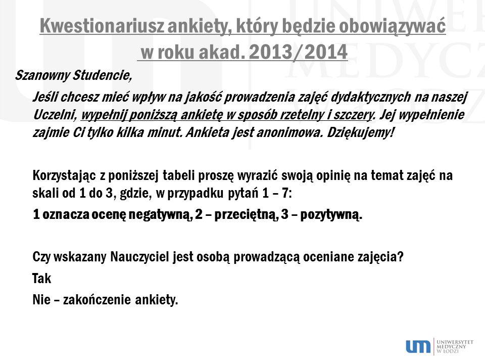 Kwestionariusz ankiety, który będzie obowiązywać w roku akad. 2013/2014 Szanowny Studencie, Jeśli chcesz mieć wpływ na jakość prowadzenia zajęć dydakt