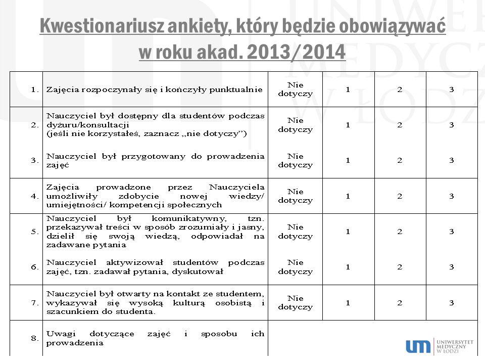 Kwestionariusz ankiety, który będzie obowiązywać w roku akad. 2013/2014