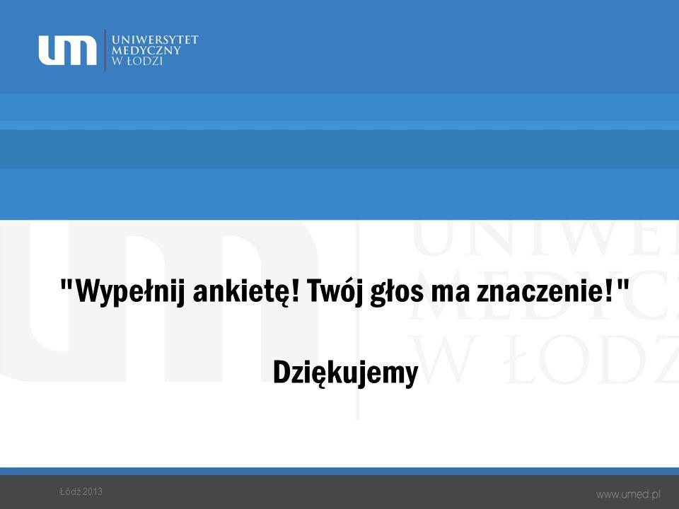 Wypełnij ankietę! Twój głos ma znaczenie! Dziękujemy Łódź 2013