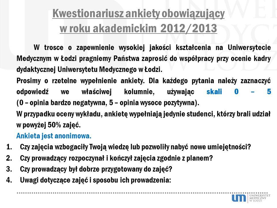 Kwestionariusz ankiety obowiązujący w roku akademickim 2012/2013 W trosce o zapewnienie wysokiej jakości kształcenia na Uniwersytecie Medycznym w Łodz