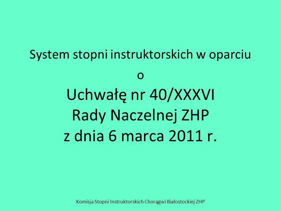 System stopni instruktorskich w oparciu o Uchwałę nr 40/XXXVI Rady Naczelnej ZHP z dnia 6 marca 2011 r. Komisja Stopni Instruktorskich Chorągwi Białos