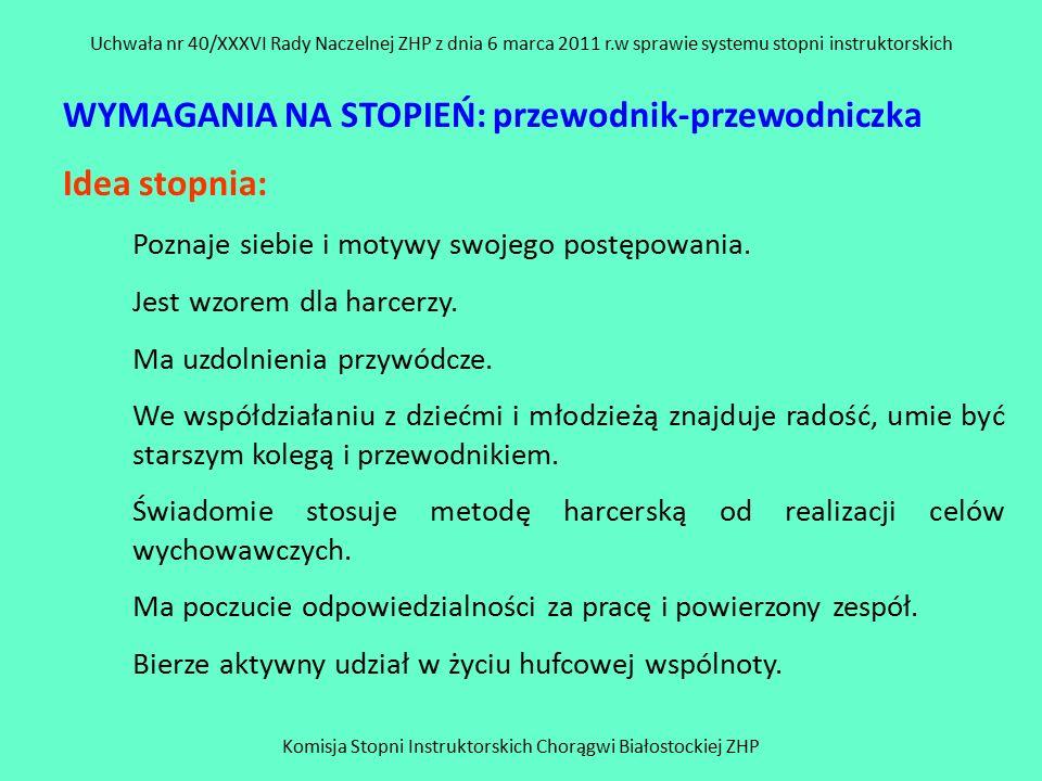 Komisja Stopni Instruktorskich Chorągwi Białostockiej ZHP Uchwała nr 40/XXXVI Rady Naczelnej ZHP z dnia 6 marca 2011 r.w sprawie systemu stopni instruktorskich WYMAGANIA NA STOPIEŃ: przewodnik-przewodniczka Idea stopnia: Poznaje siebie i motywy swojego postępowania.