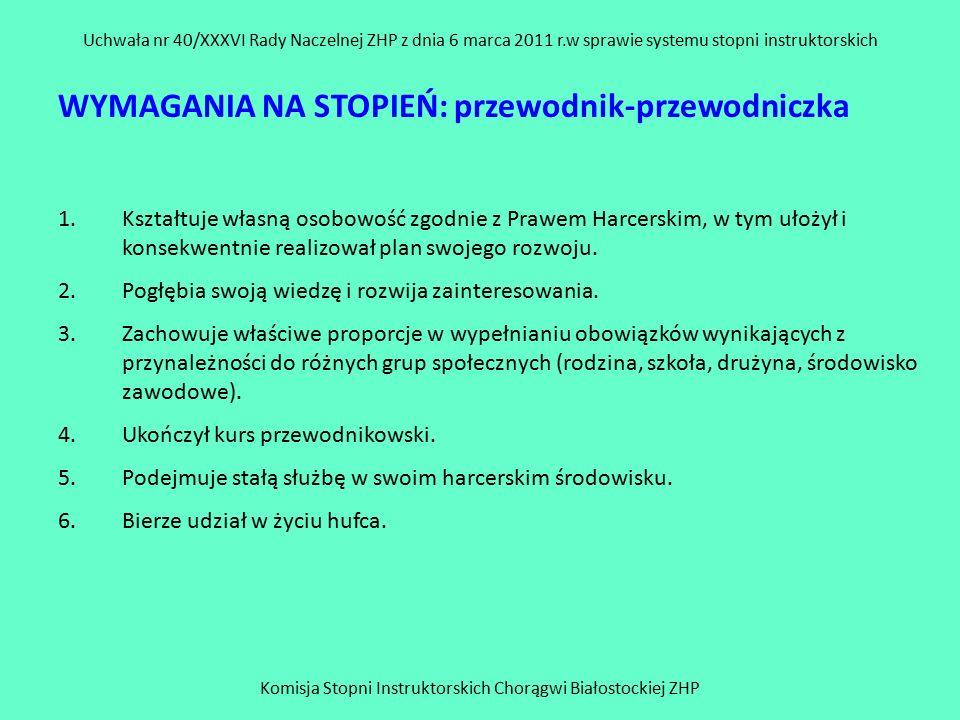 Komisja Stopni Instruktorskich Chorągwi Białostockiej ZHP Uchwała nr 40/XXXVI Rady Naczelnej ZHP z dnia 6 marca 2011 r.w sprawie systemu stopni instruktorskich WYMAGANIA NA STOPIEŃ: przewodnik-przewodniczka 1.Kształtuje własną osobowość zgodnie z Prawem Harcerskim, w tym ułożył i konsekwentnie realizował plan swojego rozwoju.