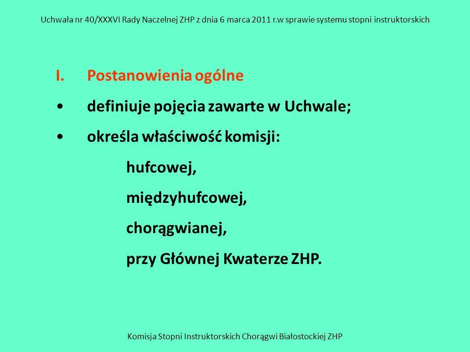 Komisja Stopni Instruktorskich Chorągwi Białostockiej ZHP Uchwała nr 40/XXXVI Rady Naczelnej ZHP z dnia 6 marca 2011 r.w sprawie systemu stopni instruktorskich II Zasady zdobywania stopni instruktorskich – określają: stopnie instruktorskie, warunki, które spełniać musi opiekun próby.