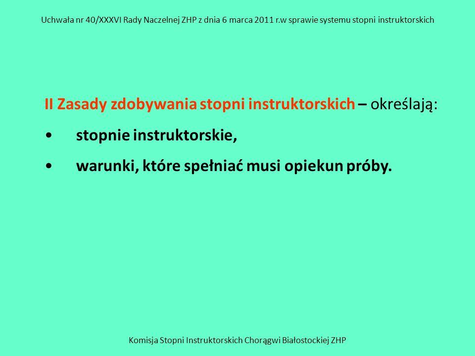 Komisja Stopni Instruktorskich Chorągwi Białostockiej ZHP Uchwała nr 40/XXXVI Rady Naczelnej ZHP z dnia 6 marca 2011 r.w sprawie systemu stopni instruktorskich III Tryb zdobywania stopni instruktorskich otwarcie próby, realizacja zadań próby, zamknięcie próby.