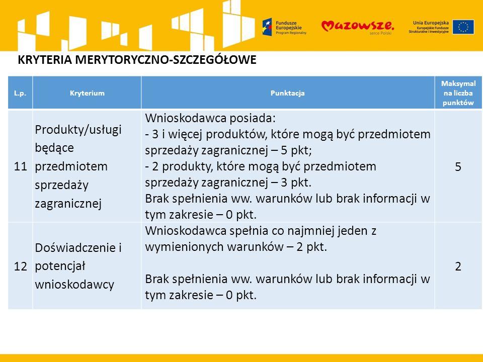 L.p.KryteriumPunktacja Maksymal na liczba punktów 11 Produkty/usługi będące przedmiotem sprzedaży zagranicznej Wnioskodawca posiada: - 3 i więcej prod