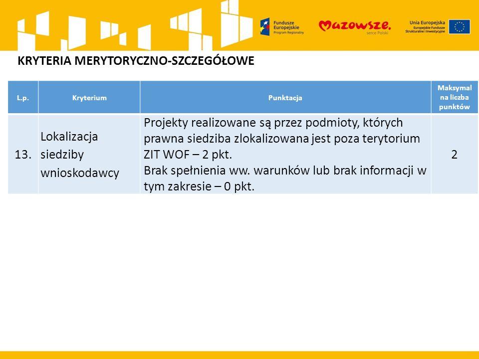 L.p.KryteriumPunktacja Maksymal na liczba punktów 13. Lokalizacja siedziby wnioskodawcy Projekty realizowane są przez podmioty, których prawna siedzib