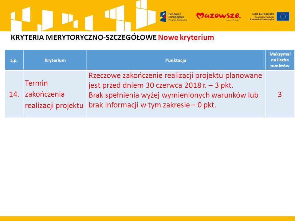 L.p.KryteriumPunktacja Maksymal na liczba punktów 14. Termin zakończenia realizacji projektu Rzeczowe zakończenie realizacji projektu planowane jest p