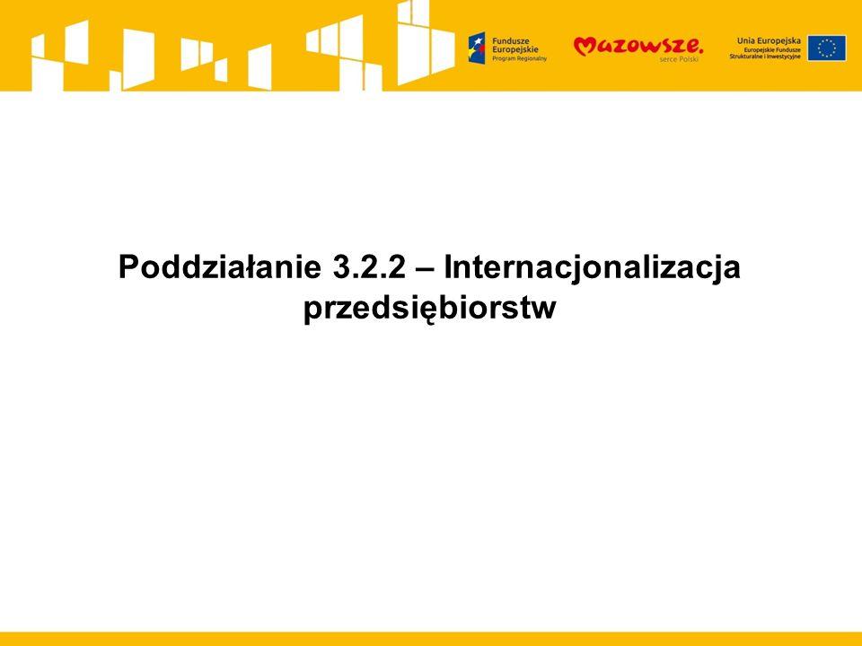 Poddziałanie 3.2.2 – Internacjonalizacja przedsiębiorstw