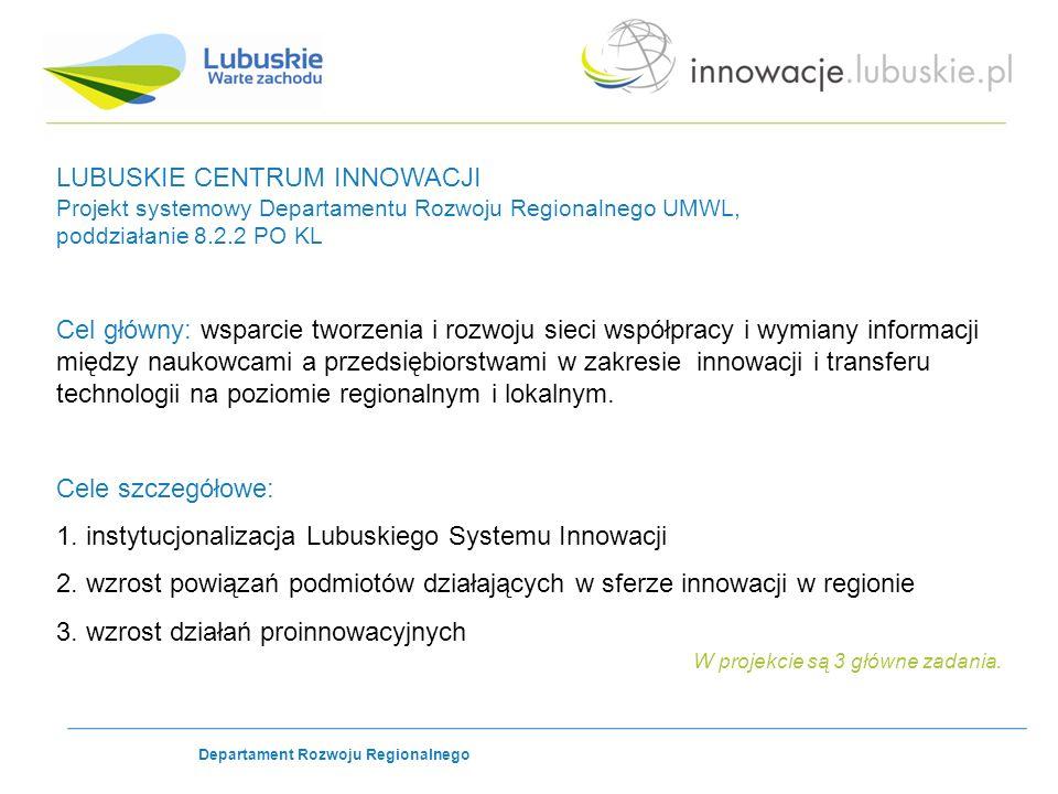 LUBUSKIE CENTRUM INNOWACJI Projekt systemowy Departamentu Rozwoju Regionalnego UMWL, poddziałanie 8.2.2 PO KL Cel główny: wsparcie tworzenia i rozwoju sieci współpracy i wymiany informacji między naukowcami a przedsiębiorstwami w zakresie innowacji i transferu technologii na poziomie regionalnym i lokalnym.