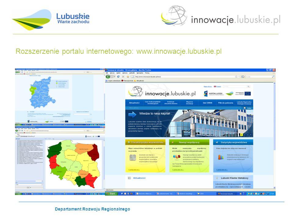 Rozszerzenie portalu internetowego: www.innowacje.lubuskie.pl Departament Rozwoju Regionalnego